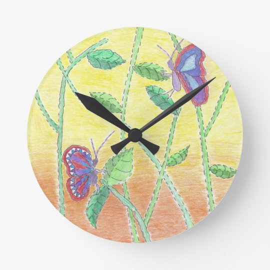 Two Butterflies in Forest Round Clock