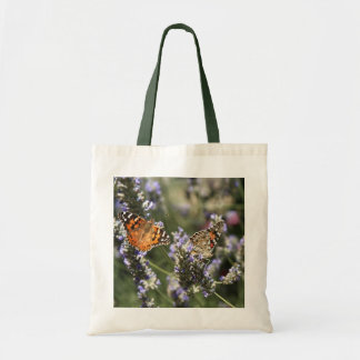 Two butterflies on flowers lavender tote bag