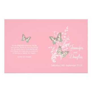 Two butterflies pink graphic Wedding Programme Flyer Design