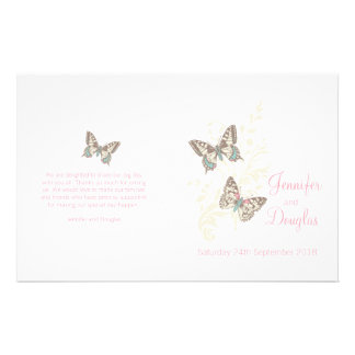 Two butterflies pink graphic Wedding Programme Flyer