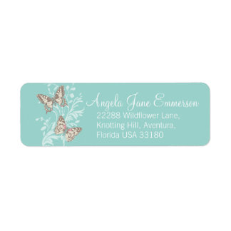 Two butterflies teal aqua wedding slim reply label