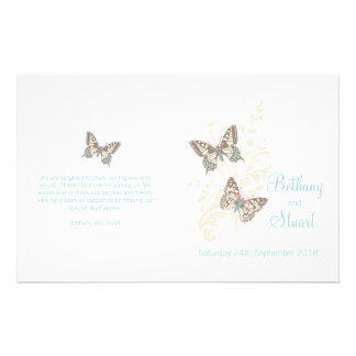 Two butterflies teal graphic Wedding Programme Flyers