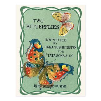 Two Butterflies Vintage Japanese Silk Label Postcard