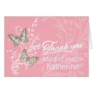 Two butterflies wedding flower girl thanks card