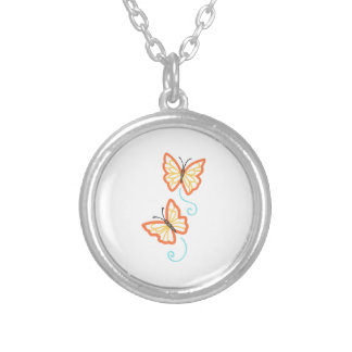 TWO BUTTERFLY APPLIQUES ROUND PENDANT NECKLACE