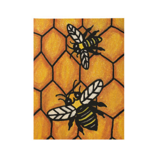 Two Buzzing Black Yellow Bumble Bees on Honeycomb Wood Poster