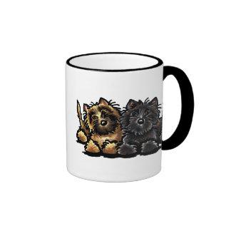 Two Cairn Terriers Ringer Coffee Mug
