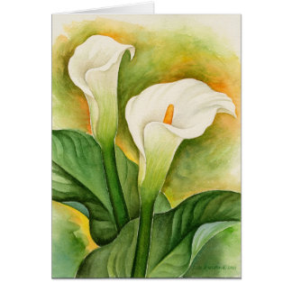 Two Cala Lilies Watercolor Art - Multi Card