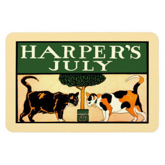 Two calico cats, Edward Penfield, Harper's July Rectangular Photo Magnet