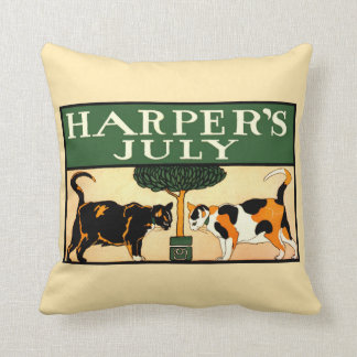Two calico cats, Edward Penfield, Harper's July Throw Pillow