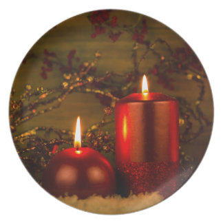 Two candles Christmas decoration Dinner Plate