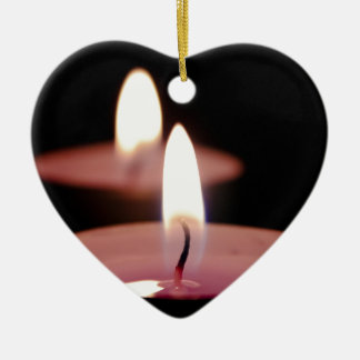Two candles Double-Sided heart ceramic christmas ornament