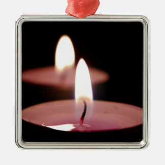 Two candles square metal christmas ornament