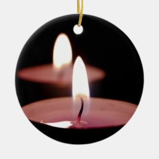 Two candles Double-Sided ceramic round christmas ornament