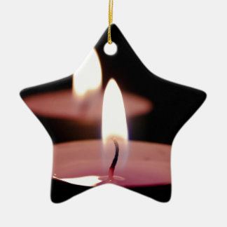 Two candles Double-Sided star ceramic christmas ornament
