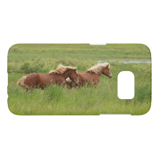 Two Cantering Palomino Horses in a Field Photo Samsung Galaxy S7 Case