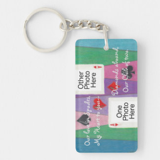 Two Cards in Love Romantic Rect Acrylic Keychain