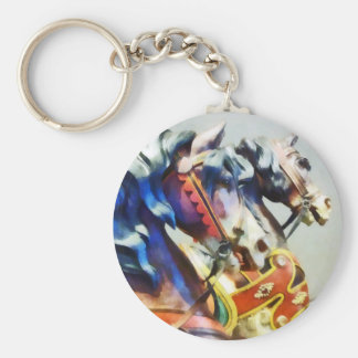 Two Carousel Horses Closeup Basic Round Button Keychain