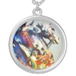 Two Carousel Horses Closeup Necklace
