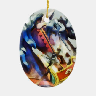 Two Carousel Horses Closeup Christmas Ornament