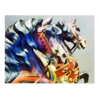 Two Carousel Horses Closeup Postcards