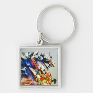 Two Carousel Horses Closeup Silver-Colored Square Keychain