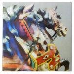 Two Carousel Horses Closeup Tile