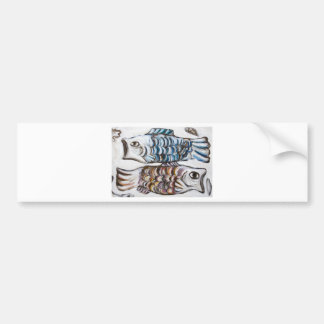 Two Carps in the Sky (animal symbolism) Bumper Sticker