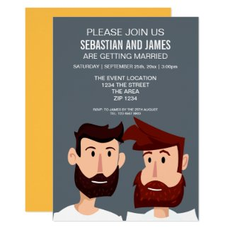 Two Cartoon Grooms With Beards Gay Wedding Themed Card