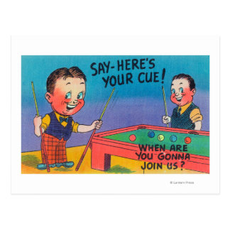 Two Cartoon Men Play Pool, Here's Your Cue Postcard