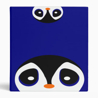 Two Cartoon Penguins Playing Peek A Boo Binder