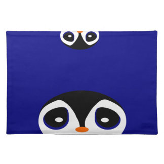 Two Cartoon Penguins Playing Peek A Boo Cloth Placemat