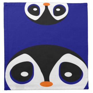 Two Cartoon Penguins Playing Peek A Boo Napkin