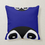 Two Cartoon Penguins Playing Peek A Boo Throw Pillow