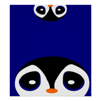 Two Cartoon Penguins Playing Peek A Boo Poster