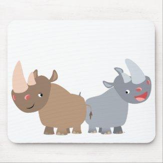 Two Cartoon Rhinos Mousepad mousepad
