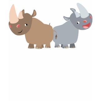 Two Cartoon Rhinos Women T-Shirt shirt