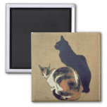 Two Cats, 1894 2 Inch Square Magnet