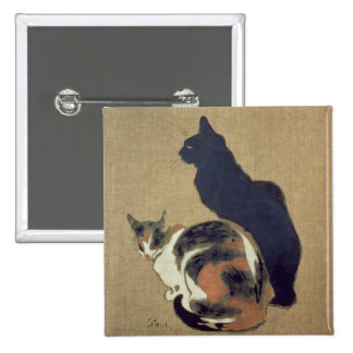 Two Cats, 1894 2 Inch Square Button