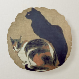 Two Cats, 1894 Round Pillow
