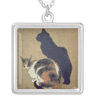 Two Cats, 1894 Square Pendant Necklace