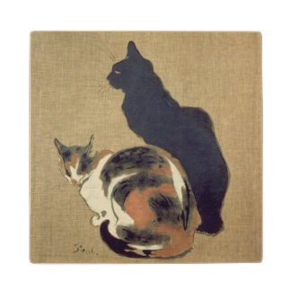 Two Cats, 1894 Wooden Coaster
