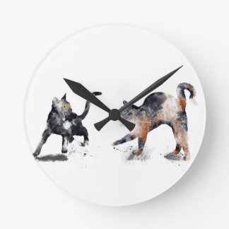 TWO CATS 3 - ROUND CLOCK
