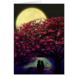 Two cats admiring the moonlight card
