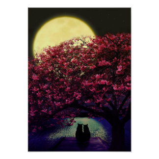 Two cats admiring the moonlight poster