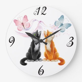Two Cats and Butterflies Wall Clock