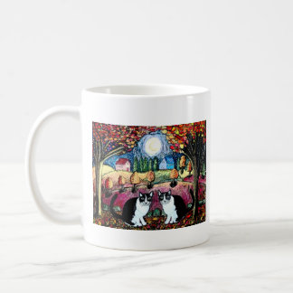 Two Cats And The Moon Mugs
