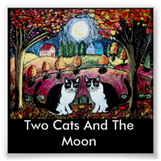 Two Cats And The Moon Print