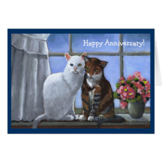 TWO CATS Annniversary PASTEL ART Greeting Card