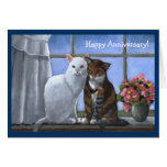 TWO CATS: Annniversary:  PASTEL ART Greeting Card